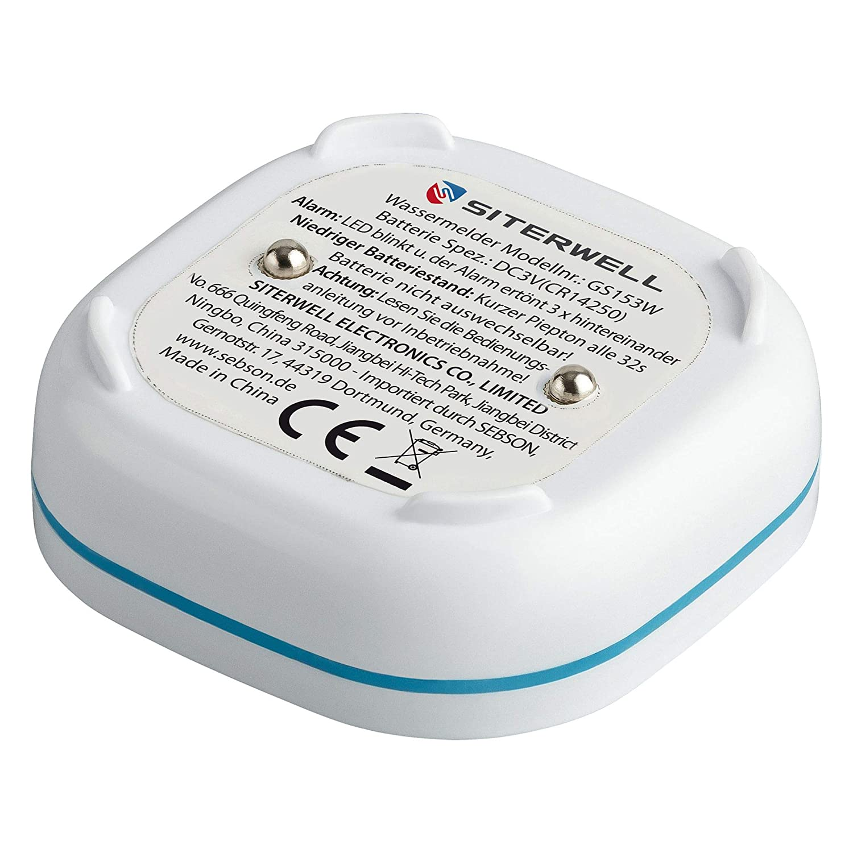 Sebson 2X Detector de Agua Mini GS153 batería de Larga duración de 10 años, Sensor de Agua para Cocina/baño, inundacion, Alarma de Agua 60x60x24mm: ...