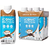 Iconic Protein Drinks, Café Latte (4 Pack) | Low Carb, Grass Fed, High Protein Super Coffee | 20G Protein + 180mg…
