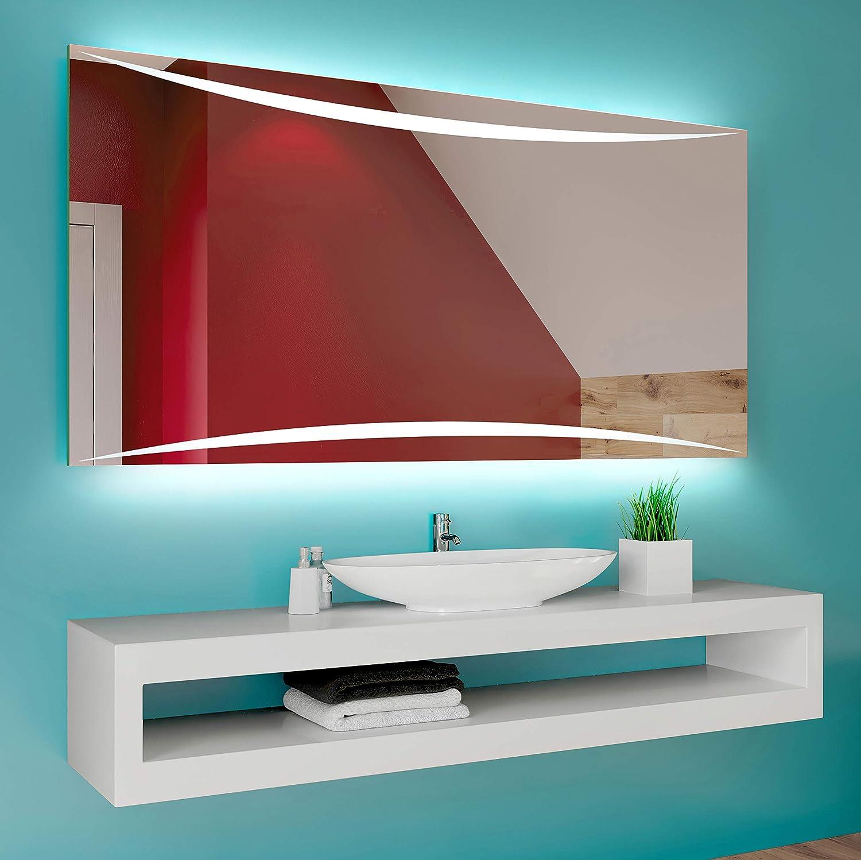 Luz Espejo de Pared con Accesorios Diferentes tama/ños para Ba/ño Dormitorio Maquillaje L78 FORAM Espejo de Ba/ño con Iluminaci/ón LED