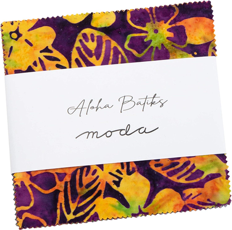 Aloha Batiks Charm Pack by Moda; 42-5 inch Precut Fabric Quilt Squares