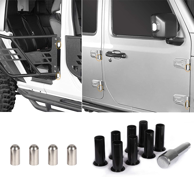 EnRand Door Hinge Pin Bolts Guides Liners,Door Bushing Removal Tool For Jeep Wrangler JK JKU JL JLU Sport Sports Sahara Freedom Rubicon X Unlimited 2007-2019 9pcs