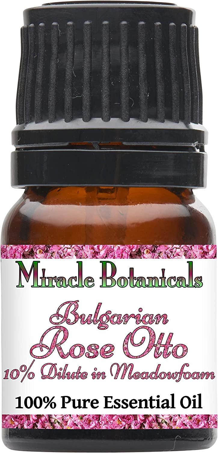Miracle Botanicals Bulgarian Rose Otto Essential Oil - 10% Dilute Pure High Quality Therapeutic Grade Rosa Damascena in Meadowfoam (2.5ML)
