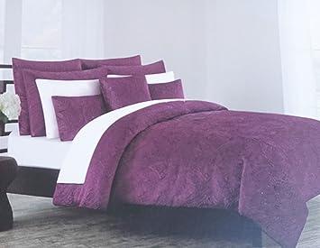 duvet cover set tahari bedding soft luxurious velvet 3 piece full queen size solid purple