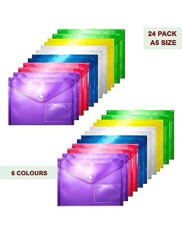 Carpeta para Documentos (Pack de 24) Carpetas Transparentes Plástico A5-6 Colores Diferentes
