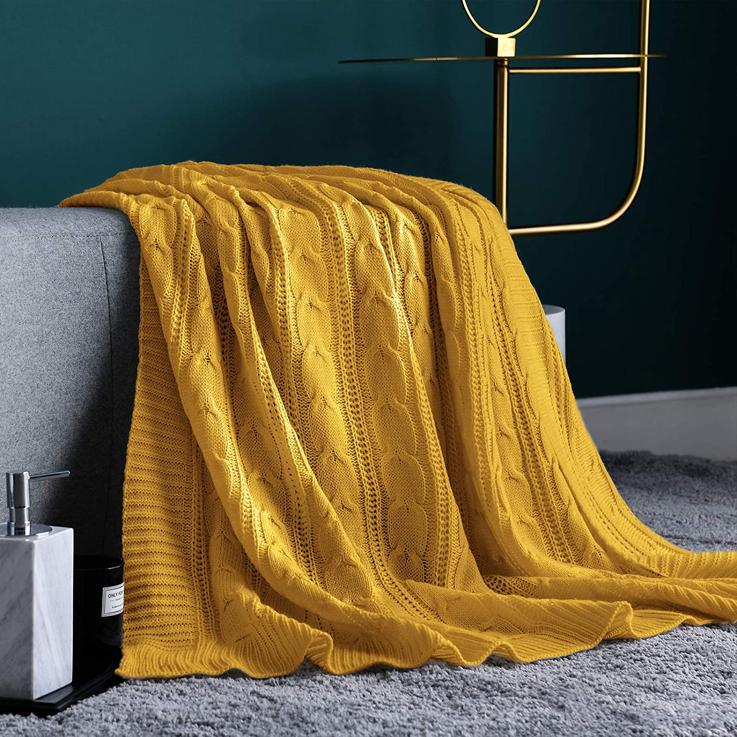"""Jinchan Throw Blanket Mustard Yellow Lightweight Cable Knit Sweater Style Year Round Gift Indoor Outdoor Travel Accent Throw for Sofa Comforter Couch Recliner Living Room Bedroom Decor 50"""" x 60"""""""