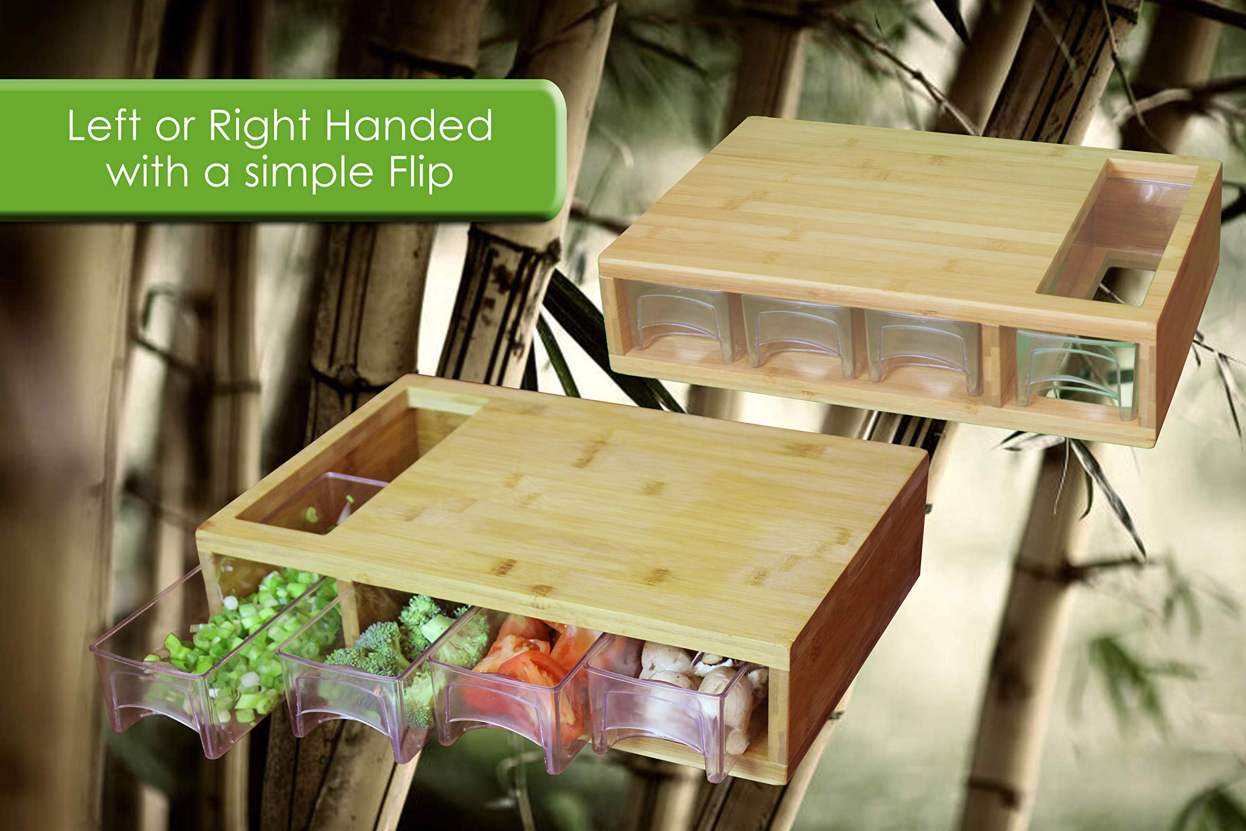 Large Bamboo Cutting Board with Trays/Draws - Wood Butcher Block with 4 Drawers & Opening For Meat, Fruits, Veggies, Bread, Cheese – Naturally Antimicrobial – Make Meal Prep Easy by Simpli Better (Image #4)