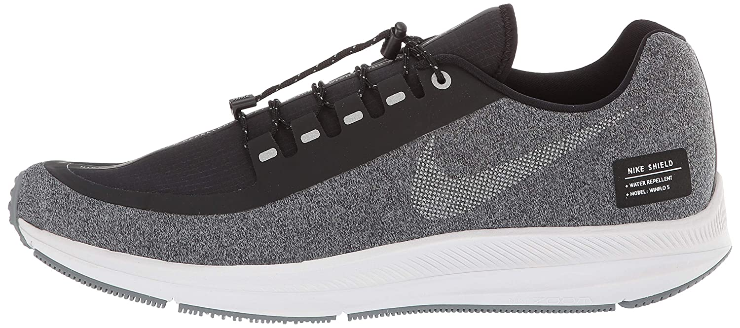 Amazon.com | Nike Mens Air Zoom Winflo 5 Shield Running Shoes (8, Black/Silver/Grey) | Track & Field & Cross Country
