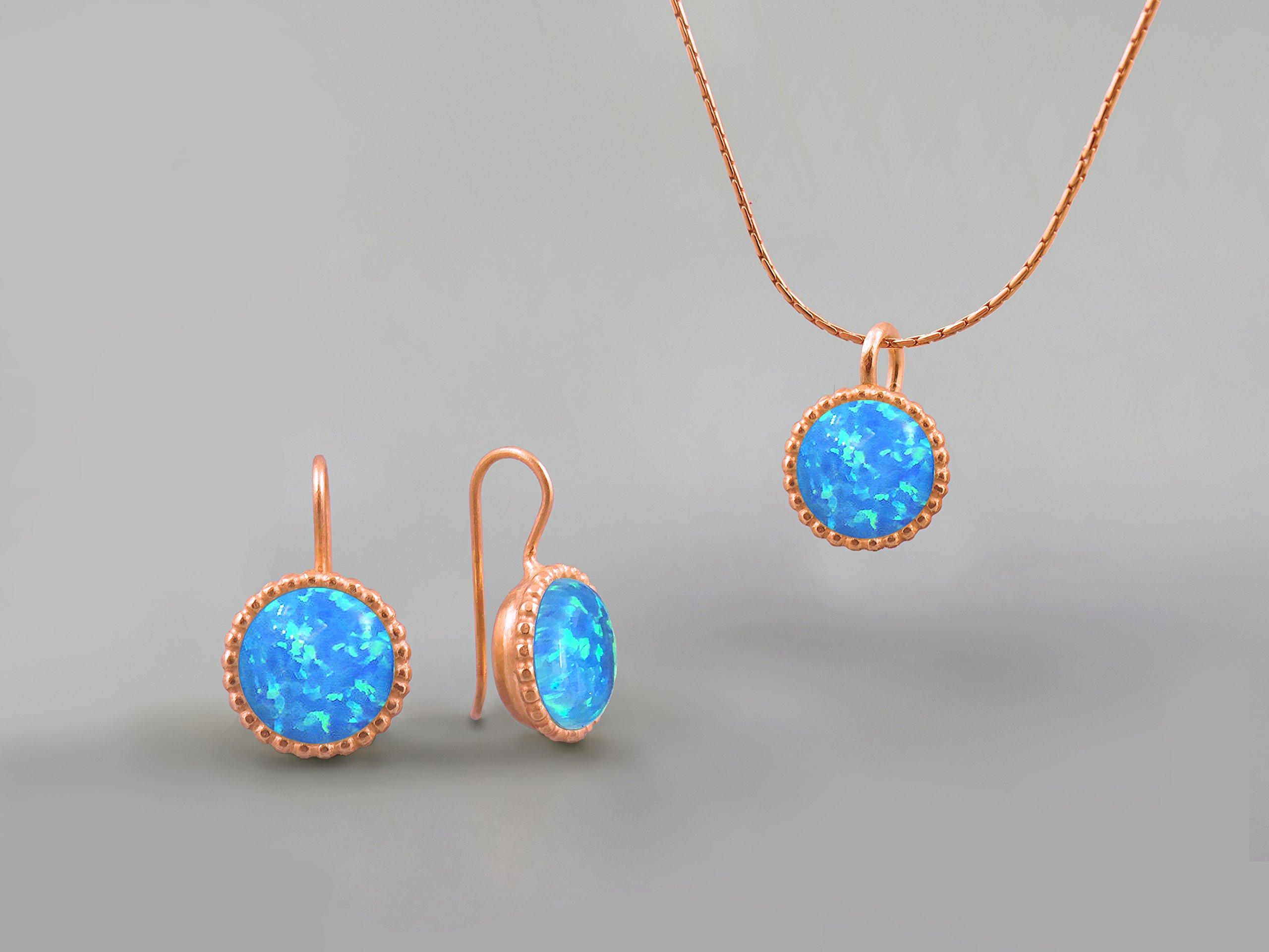 10 mm Blue Fire Opal Stones Round Jewelry Set For Women 14K Rose Gold October Birthstone Jewelry Opal Necklace Pendant Earring Set Gifts for Women Opal Jewelry Created Gemstone Custom Jewelry Handmade
