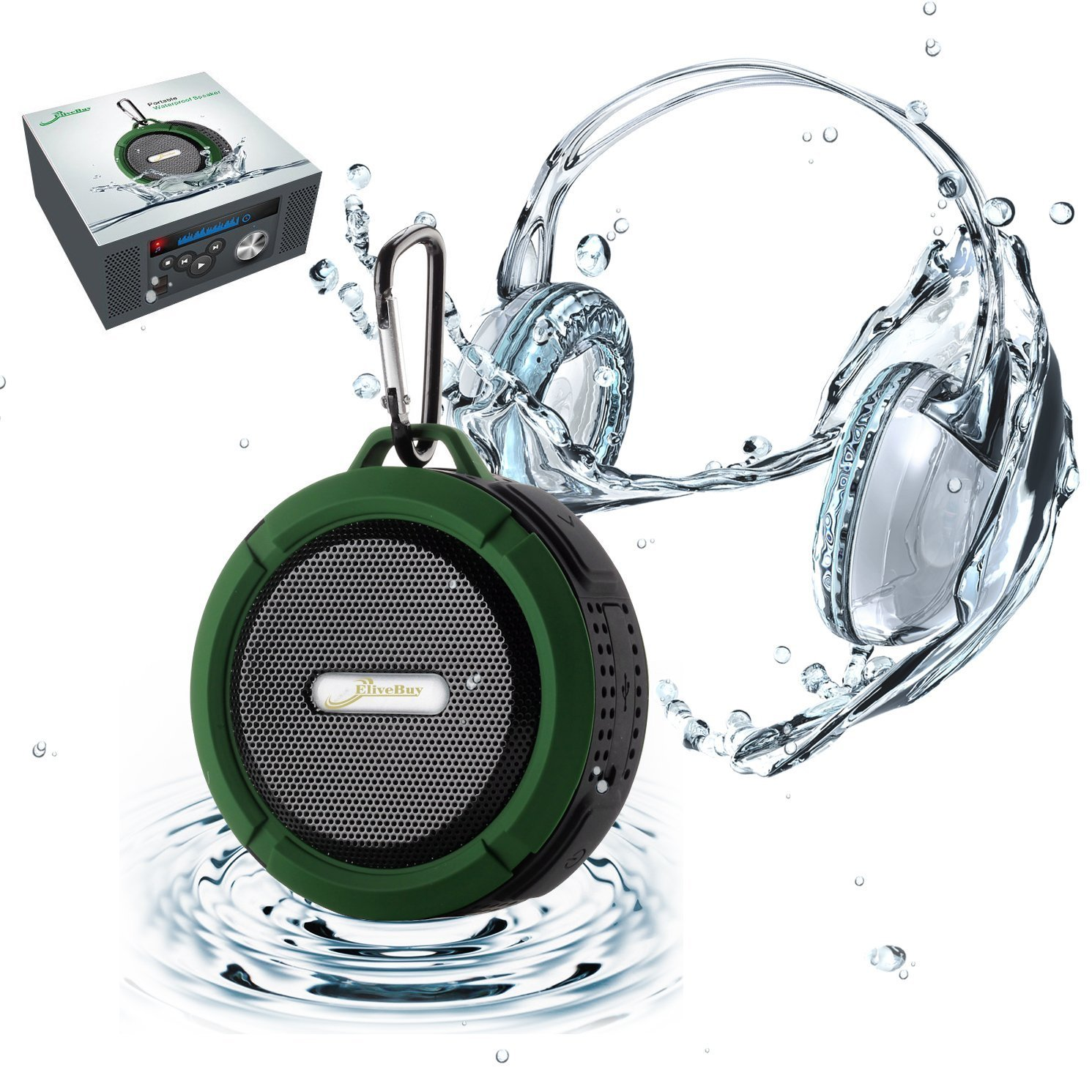 Amazon com  Shower Speaker  Elivebuy Waterproof Bluetooth Speaker  V4 2   with 5W Driver  Suction Cup  TF Card Function  Built in Mic and FM Radio    Army. Amazon com  Shower Speaker  Elivebuy Waterproof Bluetooth Speaker