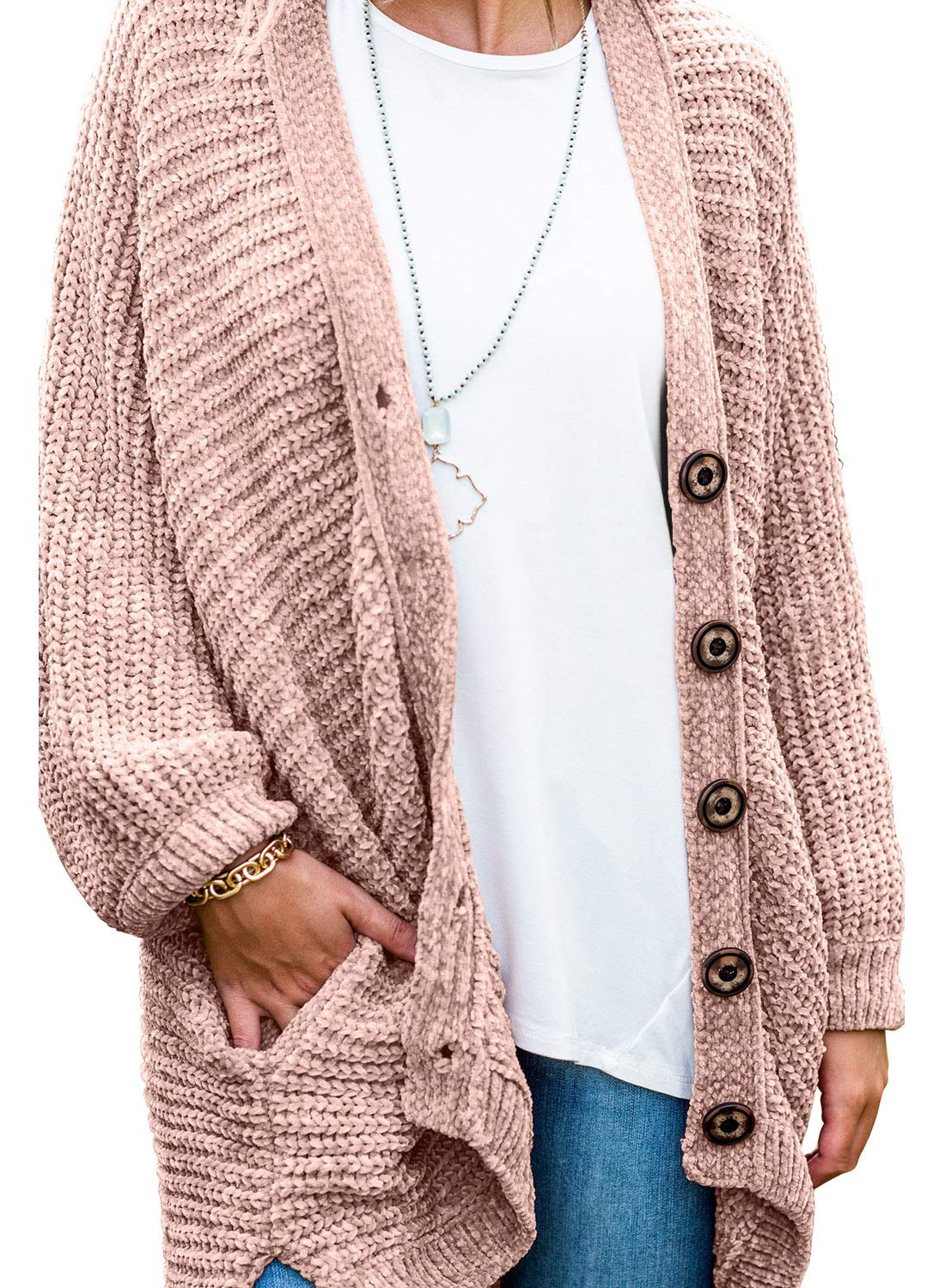 Dearlove Womens Button Down Chunky Chenille Kinit Cardigan Sweaters Loose Oversized Outwear Ooat with Pocket Pink S by Dearlove