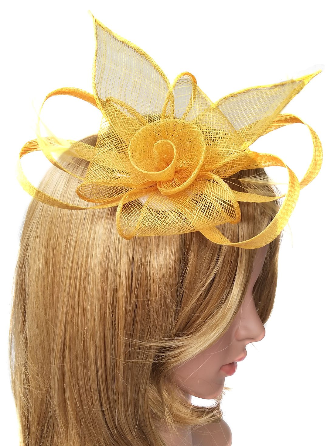 Biruil Sinamay Fascinator Hat Feather Mesh Pillbox Flower Derby Tea Party Headband (Style 1 Yellow)