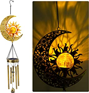 JYPS Sun Moon Solar Wind Chimes for Outside with Crackle Glass Ball Waterproof Outdoor Clearance Garden Decor Gift for Women with S Hook Warm LED Light Moon Sun Decorations for Patio Yard Garden