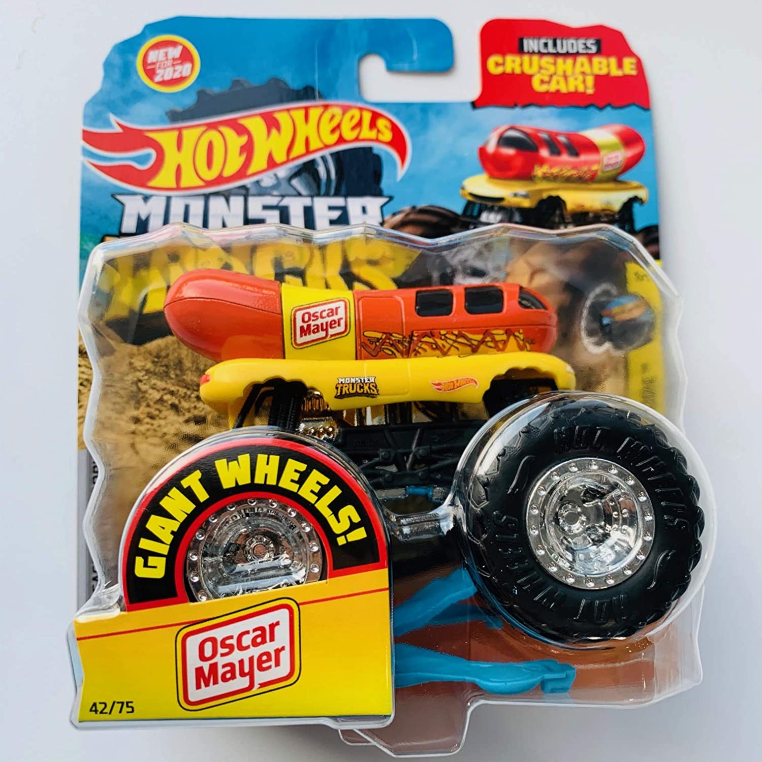 Amazon Com Hot Wheels Monster Trucks 2020 Giant Wheels 1 64 Scale Oscar Mayer With Crushable Car Toys Games