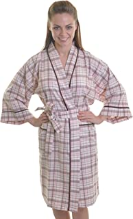 8e46daf6b2 Ladies Soft 100% Brushed Cotton Check Print Wrapover Dressing Gown Robe  with Satin Trim and