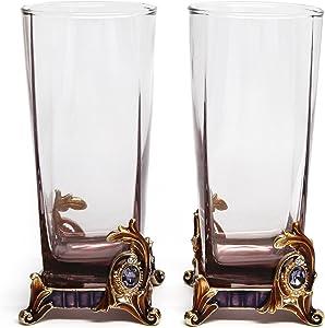 RORO Wedding Gift, Set of 2 Luxury Enameled and Jeweled Bohemia Crystal 8.5-oz Beverage Tumblers, Swarovski Decoration, Luxury Home Accessories