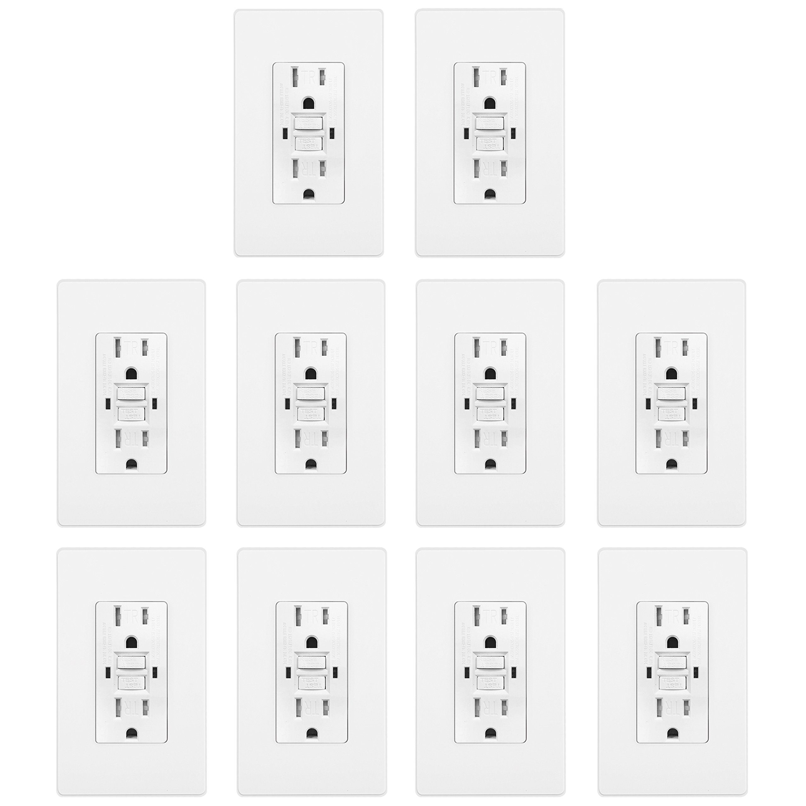 [10 Pack] BESTTEN 15A Dual Indicator Self Test GFCI Receptacle, 15A/125V/1875W, Tamper Resistant Outlet, 2 Wall Plates and Screws Included, Auto-Test Function, UL Certified, White