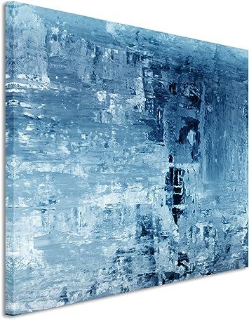 Sinus Art 120x80cm Wandbild Farbe Blau Petrol Leinwandbild Auf Keilrahmen In Bester Qualität Abstrakt Gemälde Ii Küche Haushalt