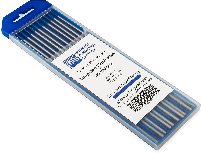 "10Pcs TIG Welding Tungsten Electrodes 2/% Lanthanated 3//32""x 6"" Blue Tip WL20 USA"