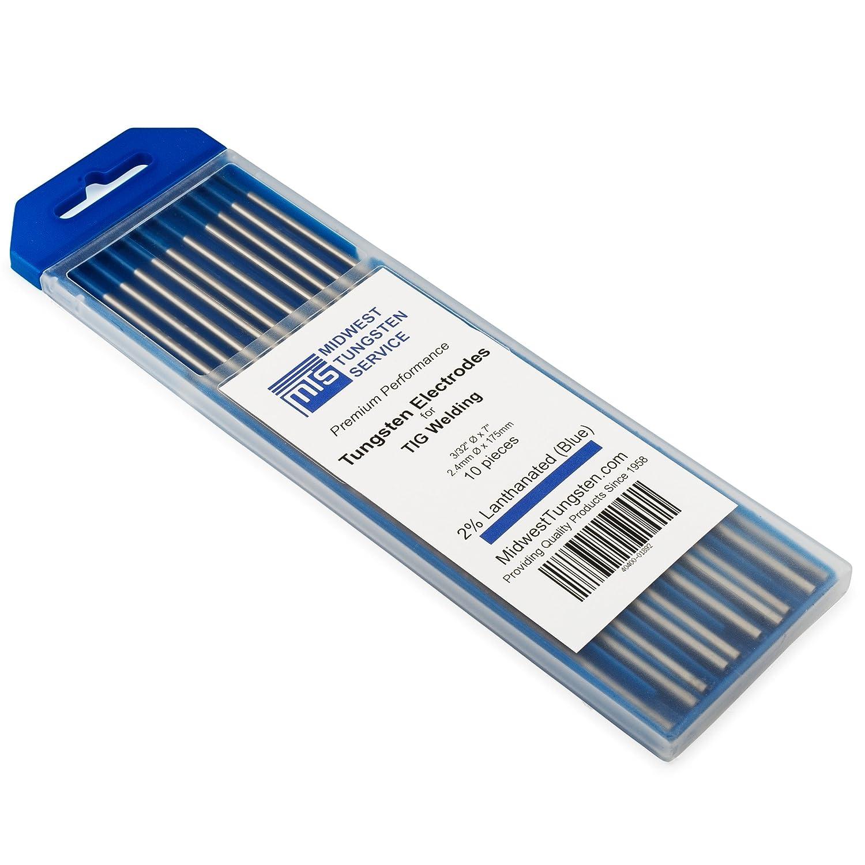 """TIG Welding Tungsten Electrodes 2% Lanthanated 1/8"""" x 7"""" (Blue, WL20) 10-Pack Midwest Tungsten Service"""