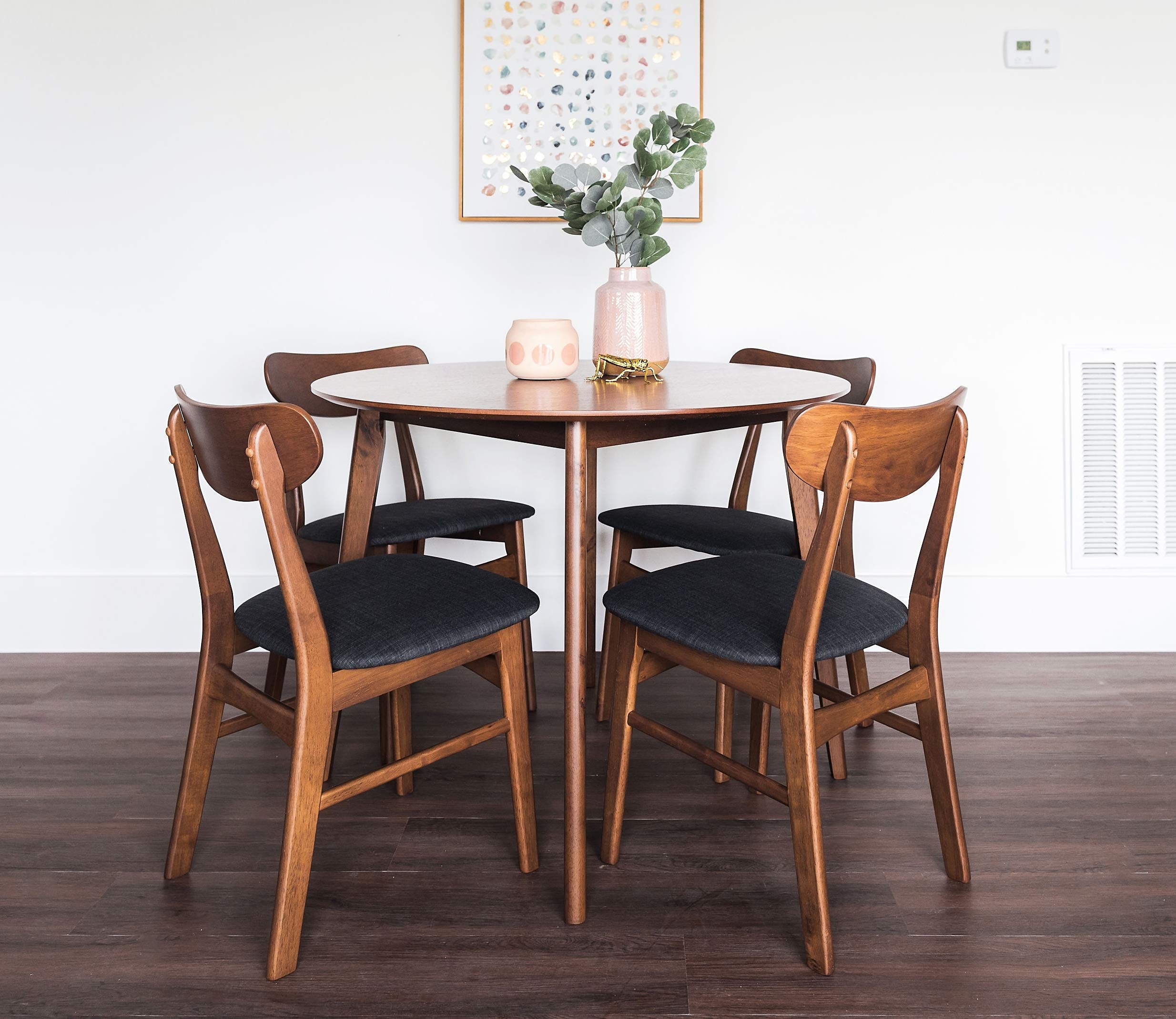 Edloe Finch 5 Piece Round Dining Table Set for 4, Walnut Top by Edloe Finch