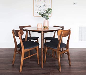 Cool Edloe Finch 5 Piece Round Dining Table Set For 4 Walnut Top Gmtry Best Dining Table And Chair Ideas Images Gmtryco