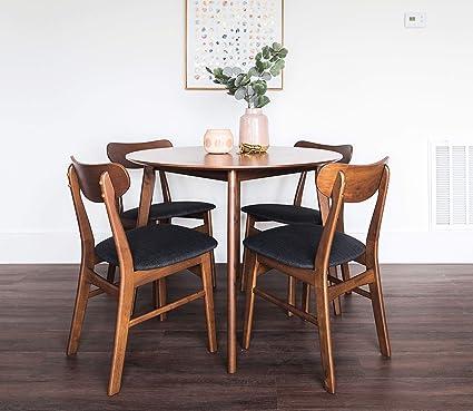 Edloe Finch Dakota Mid Century Modern 5 Piece Round Dining Table Set For 4 Walnut Top