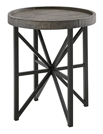 Contemporary Rustic Furniture With Ashley Furniture Signature Design Cazentine Contemporary Rustic Round End Table Distressed Top Grayish Amazoncom