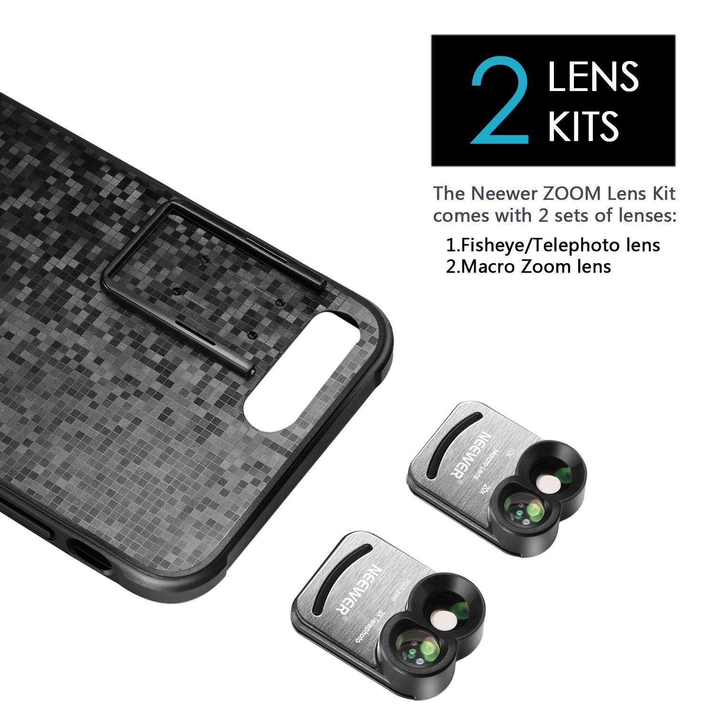 y C/áscara Duradero Pl/ástico de Tel/éfono Neewer 2 en 1 Kit de Lentes C/ámara de Tel/éfono M/óvil Clip-on para IPhone 7 Plus: 160 Grados Lente Ojo de Pez y Lente Telefoto 3X Macro Lente 10X y 20X