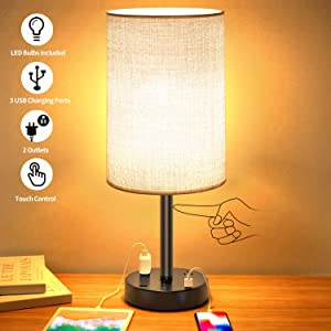 USB Table Lamp,Touch Control Lamp with 3 USB Charging Ports and 2 AC Outlets,Dimmable Bedside Nightstand Lamp with Grey Fabric Shade,Perfect for Bedroom, Living Room, Study Desk(8W LED Bulb Included)