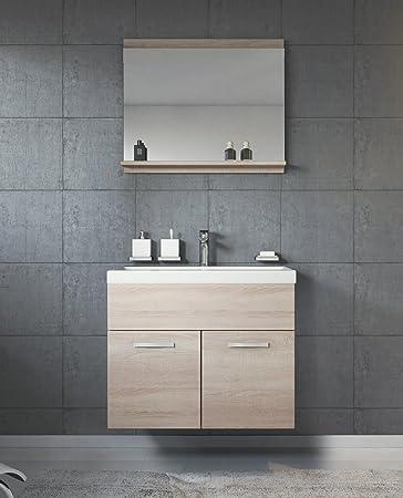 Badezimmer Waschbecken badezimmer badmöbel montreal 02 60cm waschbecken sonoma eiche