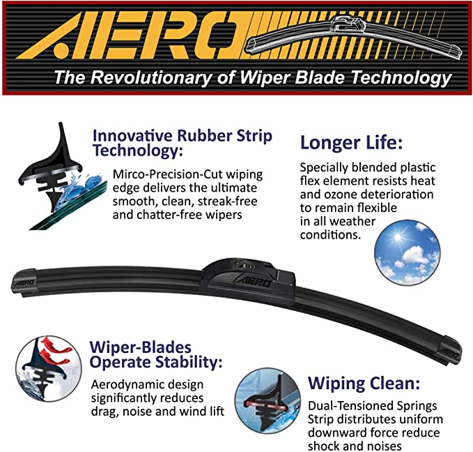 16 inch OEM Quality Premium All Season Windshield Wiper Blades,1 Year Warranty Wippi 26 set of 2
