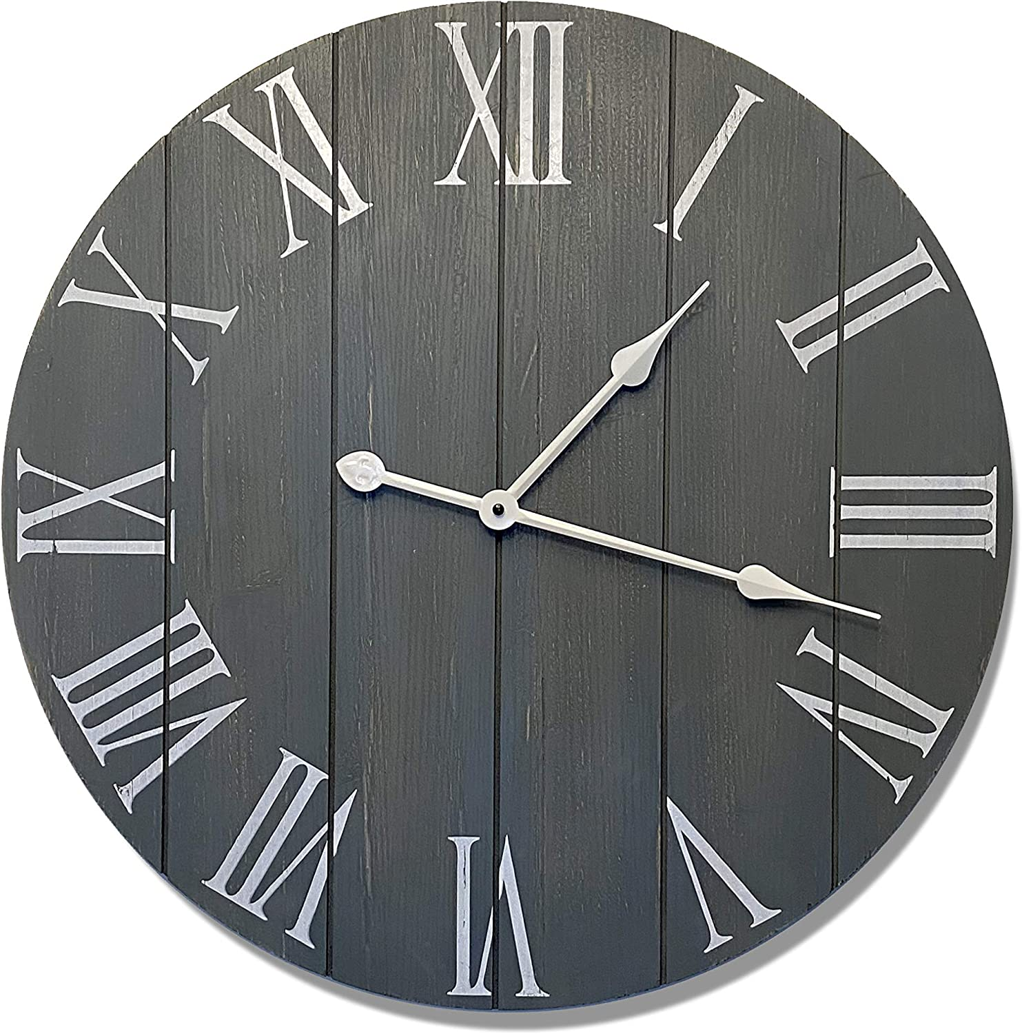 24 Large Gray Farmhouse Wall Clock Rustic Farmhouse Clock Wood Farmhouse Clock Rustic Vintage Decoration 24 Wall Clock Grey Big Rustic Clock Farmhouse Wall Clock