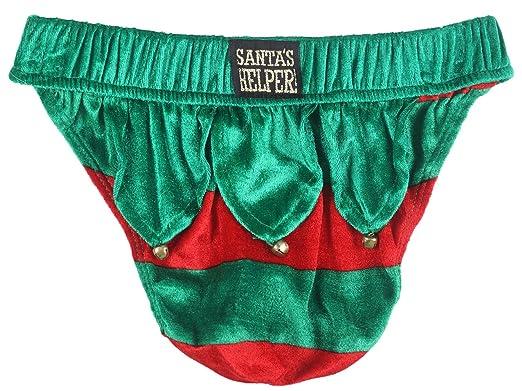 Joe Boxer Elf Thong and Sack Underwear Christmas Santas Helper Bell Felt Grn//Red