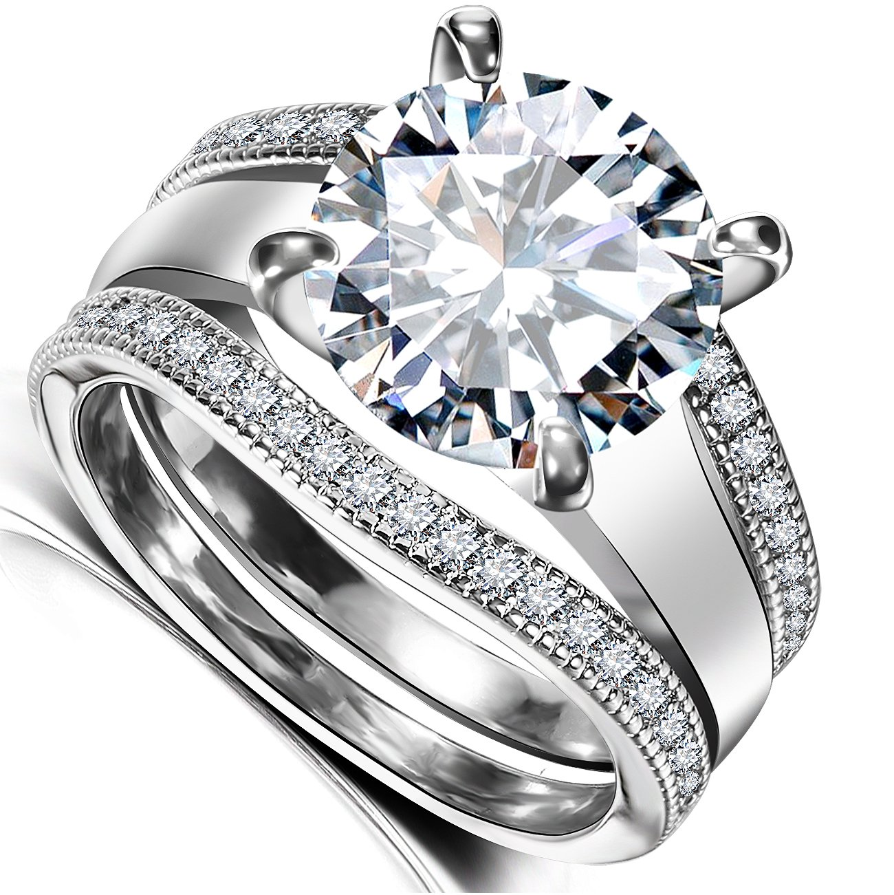 Platinum Plated Bridal Set - Round Cut Cubic Zirconia Rings Women Engagement Ring Set with Wedding Band by Hiyong (Image #2)