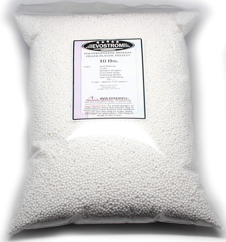 Plastic Pellets, 10 Lbs in a Heavy Duty Reclosable Bag, Doll, Blanket, Hacky Sacks, Corn Hole Filler, Polishing Media. Made in the U.S.A Evostrom V1-FPP-10