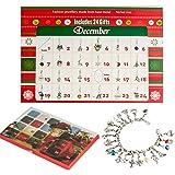 Calendrier de l'Avent Bricolage Ensemble de bijoux avec 22 bijoux à la mode Pendentifs à crémaillère Calendriers de l'adolescence pour enfants Cadeaux à thème de Noël