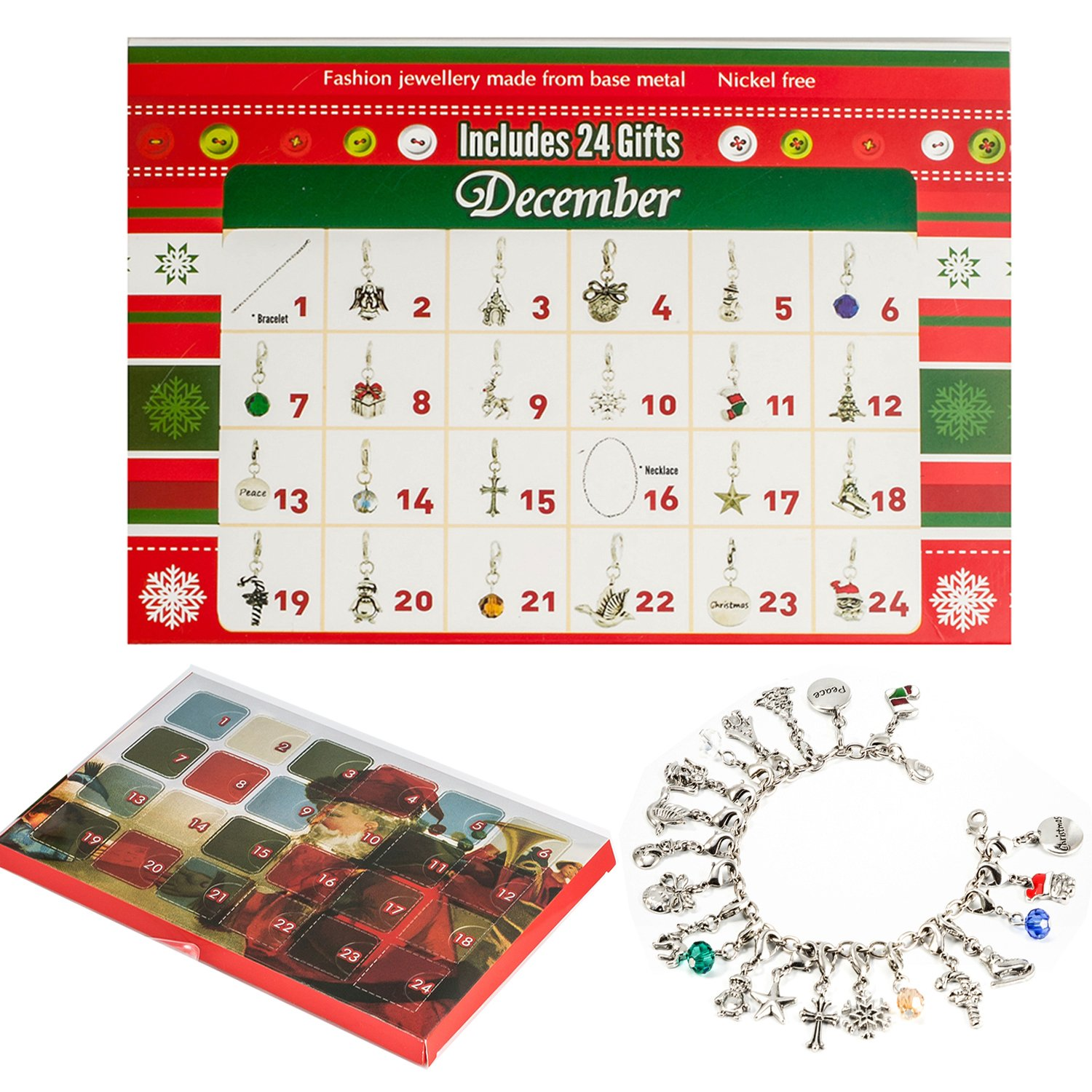 Trend Wind Advent Calendar,Bracelet Necklace Fashion Jewelry with 22 Charms for Kids Christmas Gifts