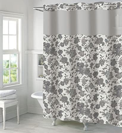 Amazon Hookless Snow White Faux Silk Shower Curtain With Peva
