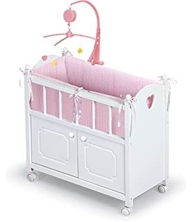 Badger Basket White Doll Crib With Cabinet/Bedding/Mobile/Wheels (fits  American