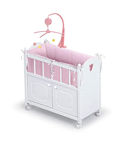Delicieux Badger Basket White Doll Crib With Cabinet/Bedding/Mobile/Wheels (fits  American