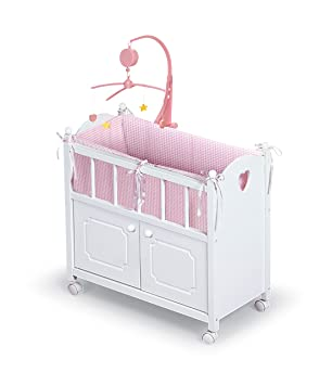 Badger Basket White Doll Crib With Cabinet Bedding Mobile Wheels Fits American