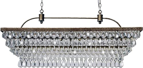 The Weston 40 Inch Rectangular Glass Drop Crystal Chandelier