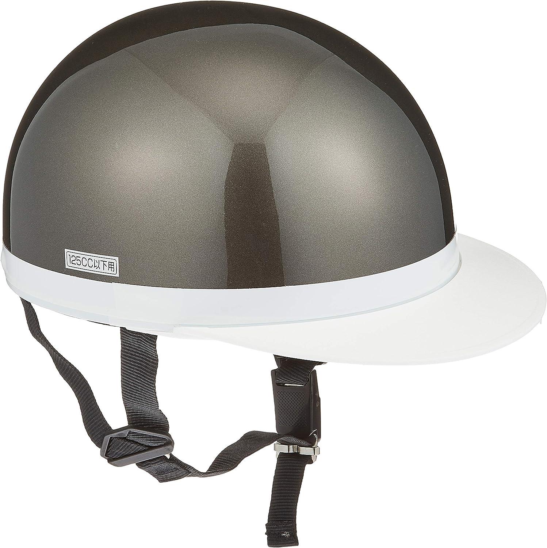 バイクパーツセンター ヘルメット ハーフ 白ツバ ガンメタリック フリーサイズ (頭囲 57cm~59cm未満) 7103