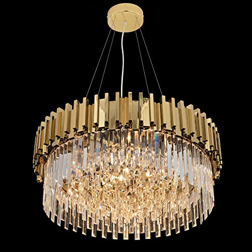 MEEROSEE Modern Crystal Chandelier Lighting Led Pendant Lights Fixture with Stainless Steel Shade Island Chandeliers Ceiling Dining Room Living Room Contemporary Kitchen Dimmable 12-Lights