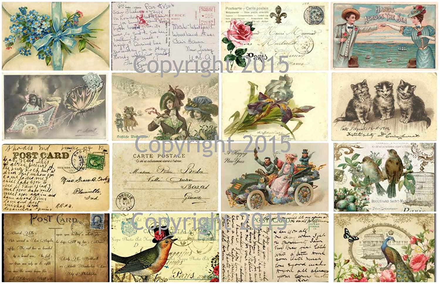 Vintage Printed French Post Cards Collage Sheet #102 Labels, Scrapbooking, Decoupage Paper Moon Media