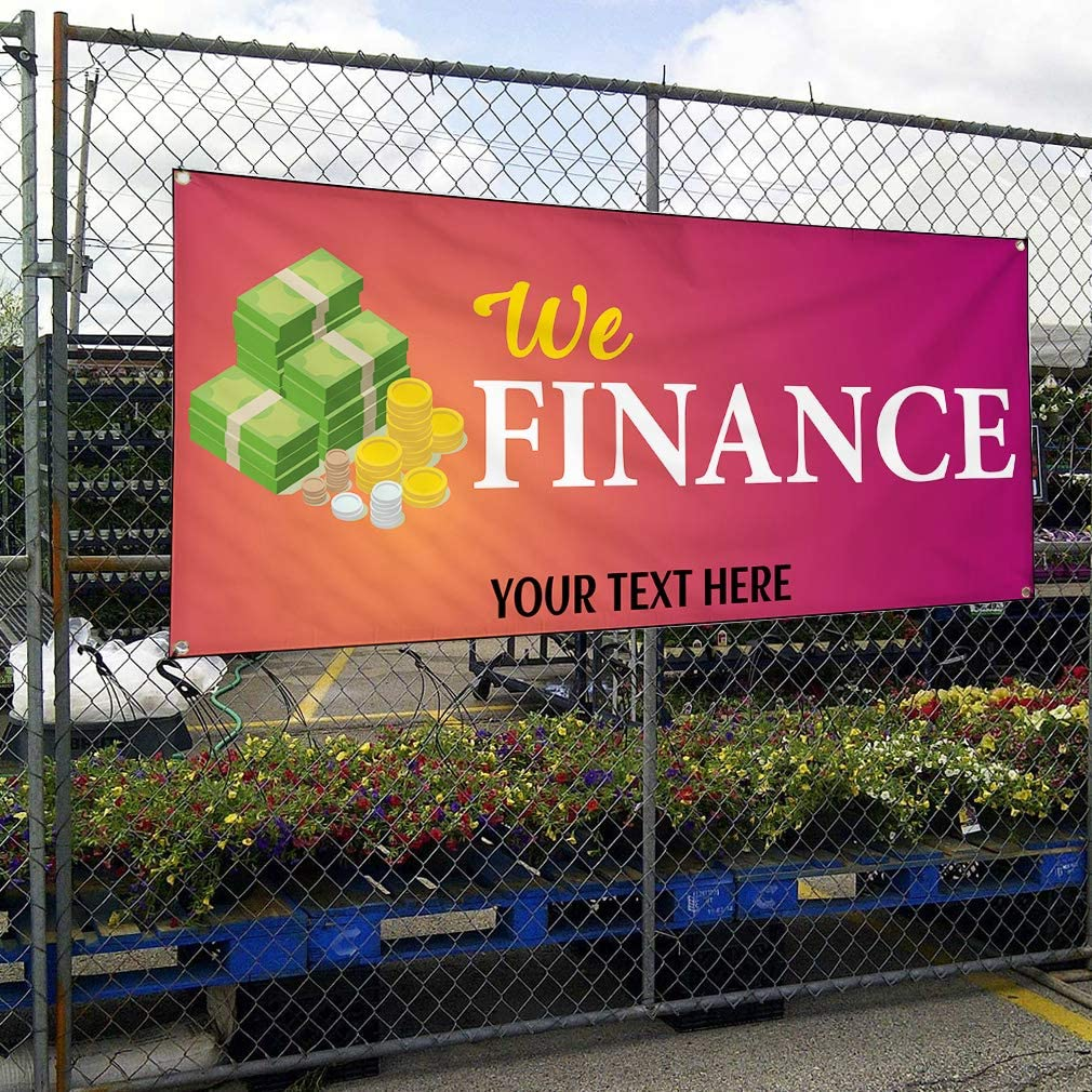 Custom Industrial Vinyl Banner Multiple Sizes We Finance Style A Personalized Text Here Business Outdoor Weatherproof Yard Signs Pink 10 Grommets 48x120Inches