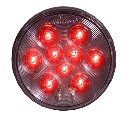 """Maxxima M42322RCL Red 4"""" Round Stop/Tail/Turn Light with Clear Lens: Automotive"""