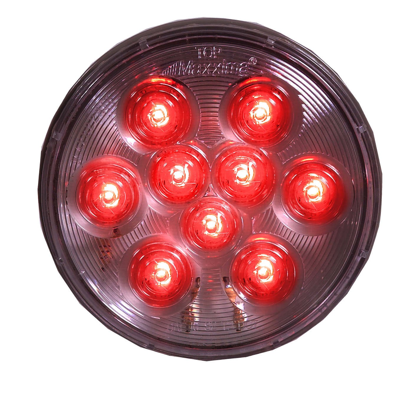 Maxxima M42322RCL Red 4'' Round Stop/Tail/Turn Light with Clear Lens by Maxxima