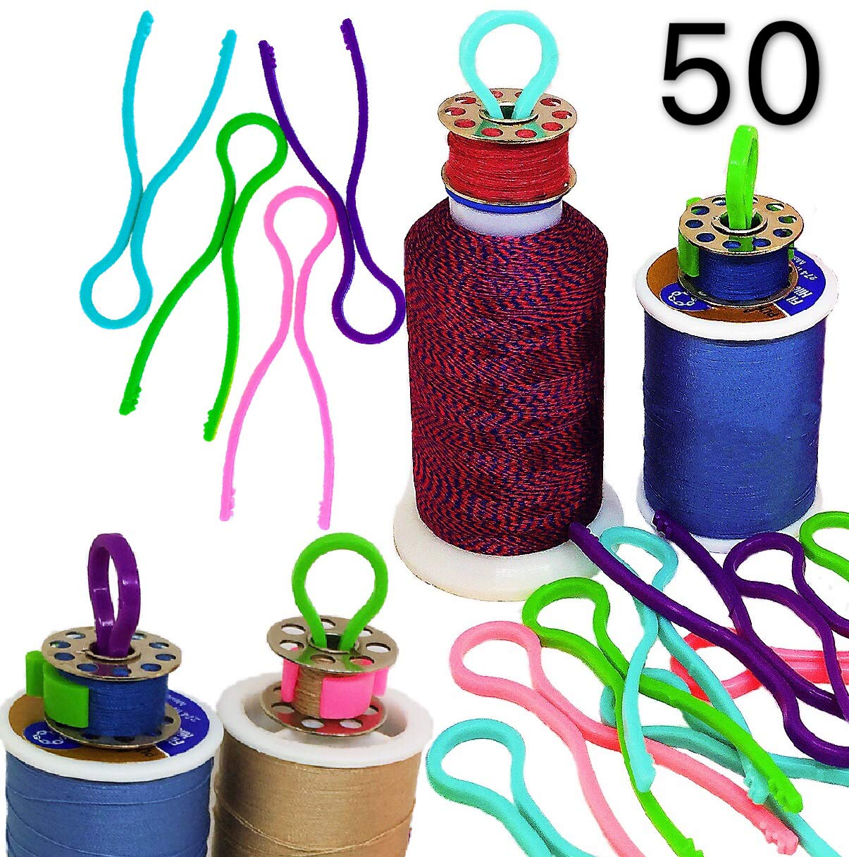 PeavyTailor Bobbin Buddies 50 pcs Thread Organizer Matching Thread Spools Together