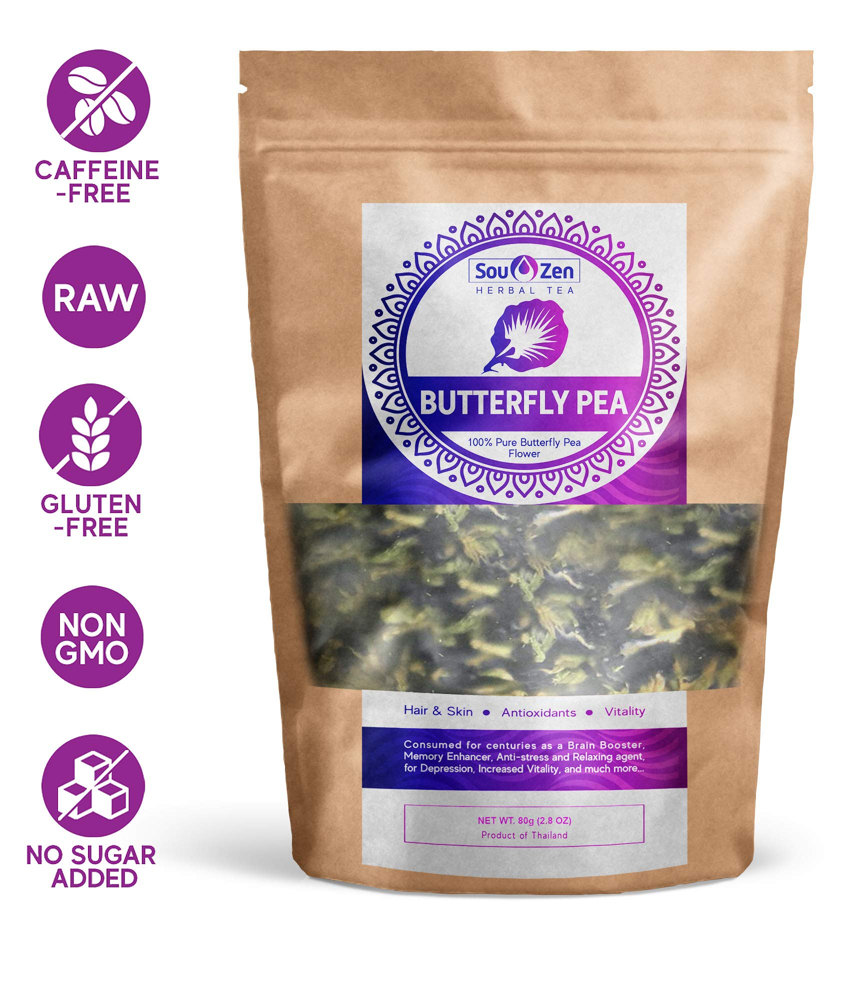 Sou Zen Butterfly Pea Flowers (80 g) Dried Tea Leaves | Natural, Raw Drink Mix w/Antioxidants, Organic Nootropics | Promotes Relaxing Calm, Stress Relief | Thai Herbal